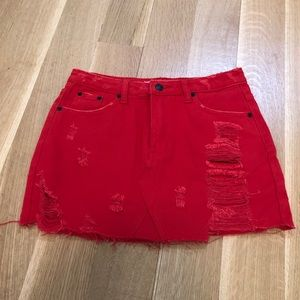 NEW Red distressed jean skirt